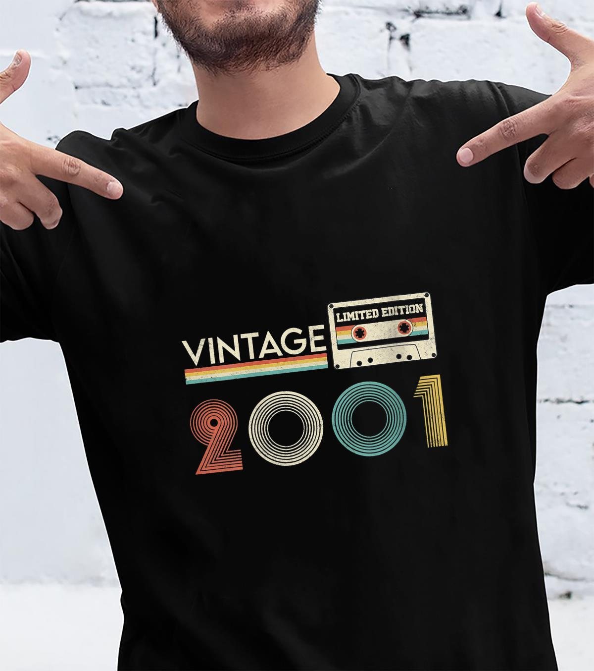 Womens Retro Cassette 20th 2001 Distressed 20 Birthday Years Old Shirt
