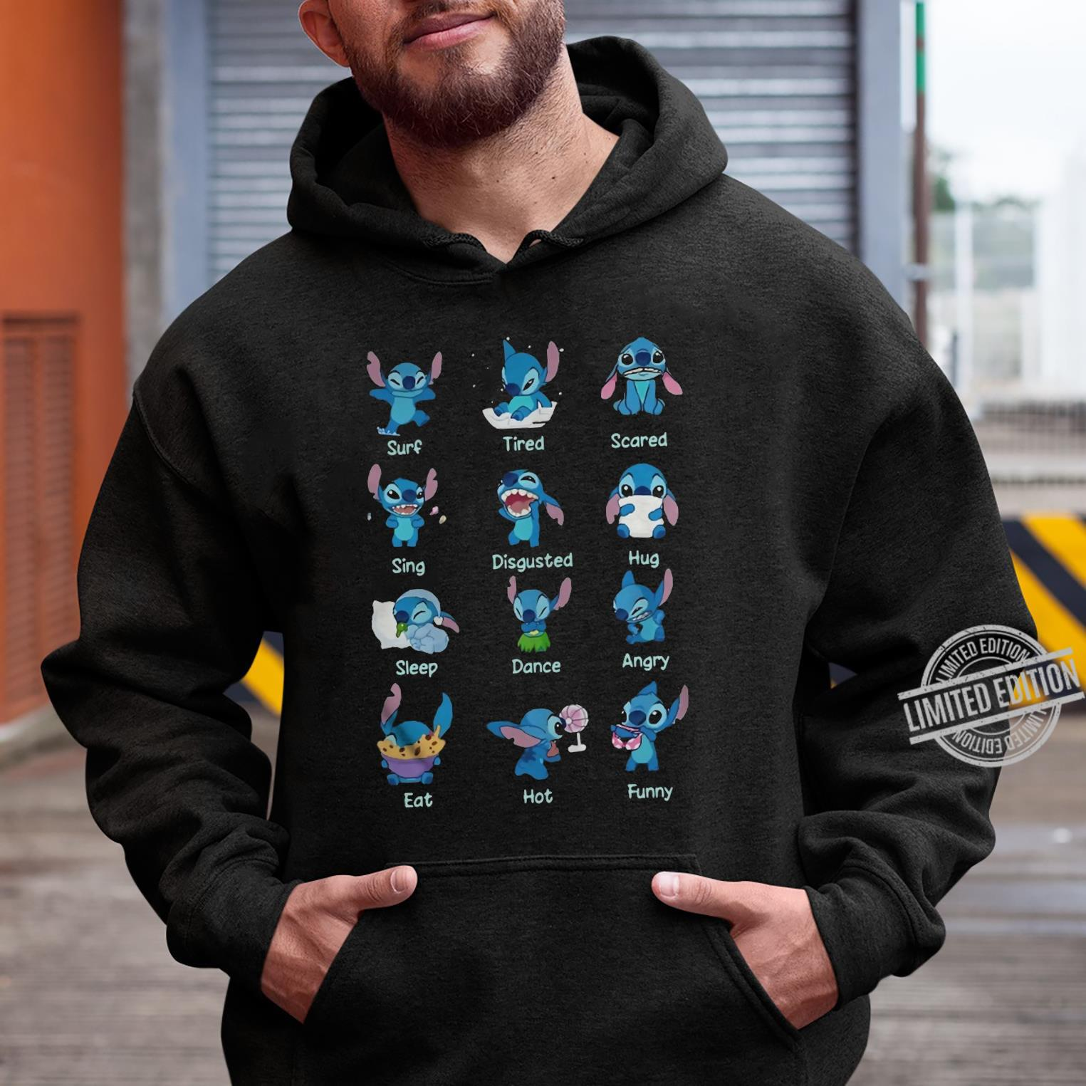 Stitch Surf Tired Scared Sing Disgusted Hug Sleep Dance Angry Eat Hot Funny Shirt hoodie